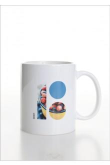 Keraamiline valge tass marjateemalise logoga, 10 tk