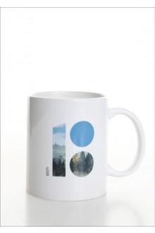 Keraamiline valge tass metsateemalise logoga, 10 tk