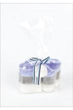 Südamekujulised teeküünlad sinine, must ja valge