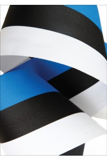 A ribbon in the colours of the national flag of Estonia — blue, black and white, 90 mm