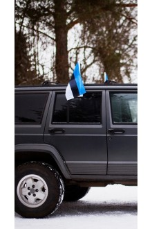 Estonian flag for car, with a holder
