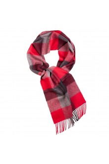 Great Natural Alpaca red checked alpaca wool scarf