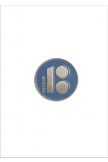 Button badge ESTONIA with magnetic fastener, blue colour