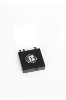 Black button badge with magnetic fastener in gift box