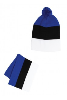 Hat and scarf set in the colours of the Estonian flag