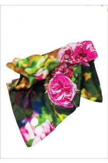 "Silk neck scarf ""Roses"", 60x60 cm"