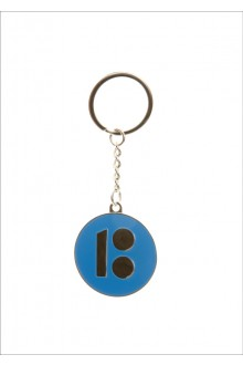 Metal keychain with an Estonia100 logo, blue colour
