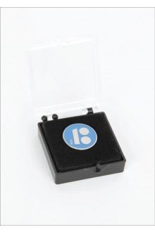 Blue button badge with magnetic fastener in gift box