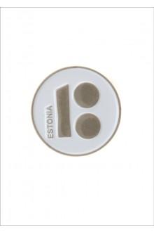 Button badge ESTONIA with magnetic fastener, white colour
