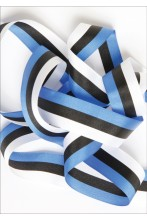 A ribbon in the colours of the national flag of Estonia — blue, black and white, 27 mm