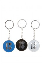 Metal keychain with an Estonia100 logo, blue, black and white