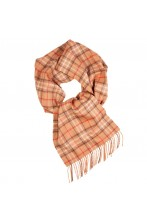 Great Natural Alpaca beige checkered alpaca wool scarf