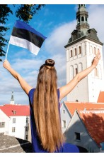 Estonian hand-held flag made from flag fabric