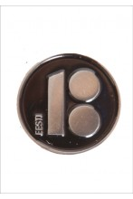 Button badge with magnetic fastener, black colour