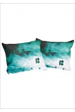 Decorative cushions, dark green, 2 pcs
