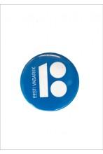 Steel button badge, blue colour
