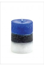 Blue-black-white table candle