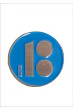 Button badge with magnetic fastener, blue colour