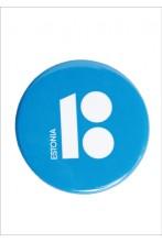 Steel button badge, blue