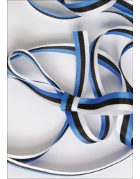 A ribbon in the colours of the national flag of Estonia — blue, black and white, 10 mm