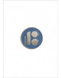 Button badge ESTONIA with magnetic fastener, blue colour