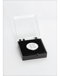 White button badge with needle fastener in a gift box