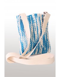 Blue-white shoulder bag made of Song Celebration T-shirts 18 x 21 cm