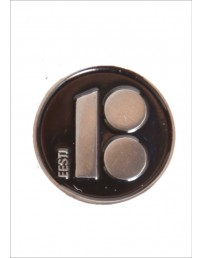 Button badge with needle fastener, black colour