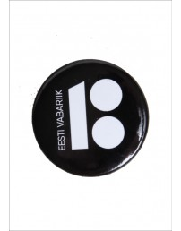 Steel button badge, black colour, 10 pcs