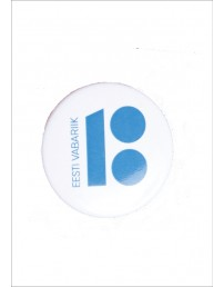 Steel button badge, white colour