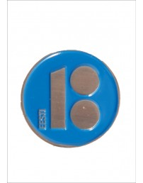 Button badge with needle fastener, blue colour