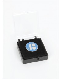 Blue button badge with needle fastener in a gift box