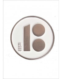 Button badge with needle fastener, white colour