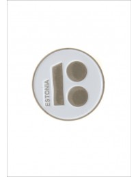 Button badge ESTONIA with magnetic fastener, white colour