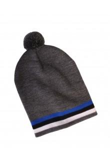 Теплая шапка серого цвета с узором в виде эстонского флага EESTI
