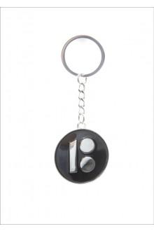 Металлический брелок с логотипом ЭР100, чёрный цвет, 10 шт.