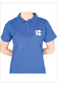 Женская футболка-поло с символикой ЭР100, синий цвет