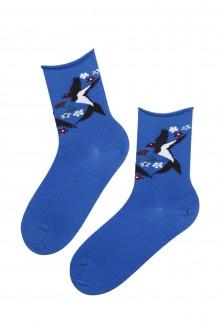 Женские носки синего цвета из мериносовой шерсти с изображением ласточки SWALLOW