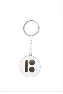 Металлический брелок с логотипом ЭР100, белый цвет, 10 шт.