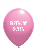 Воздушный шарик розового цвета из латекса с надписью BIRTHDAY QUEEN