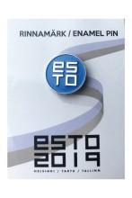 Нагрудный значок ESTO с креплением «цанга-бабочка», цвет: синий