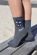 Женские хлопковые носки серого цвета с эстонской тематикой TIINA