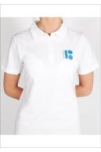 Женская футболка-поло с символикой ЭР100, белый цвет