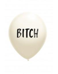 Воздушный шарик белого цвета из латекса с надписью BITCH