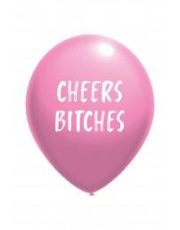 Воздушный шарик розового цвета из латекса с надписью CHEERS BITCHES