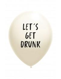 Воздушный шарик белого цвета из латекса с надписью LET'S GET DRUNK