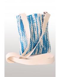 Сумка сине-белого цвета из футболок с символикой певческого праздника 18 х 21 см