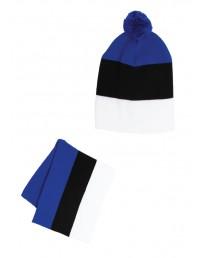 Комплект из шапки и шарфа в цветах флага Эстонии
