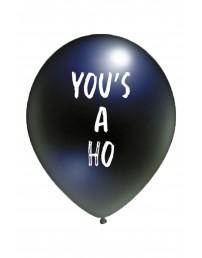 Воздушный шарик черного цвета из латекса с надписью YOU'S A HO